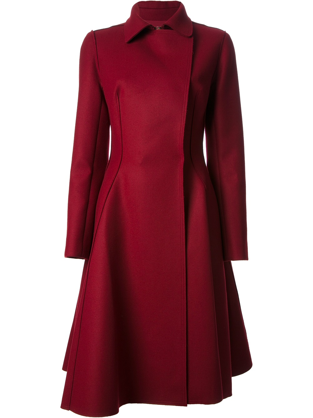 lanvin flared hem coat in red lyst. Black Bedroom Furniture Sets. Home Design Ideas