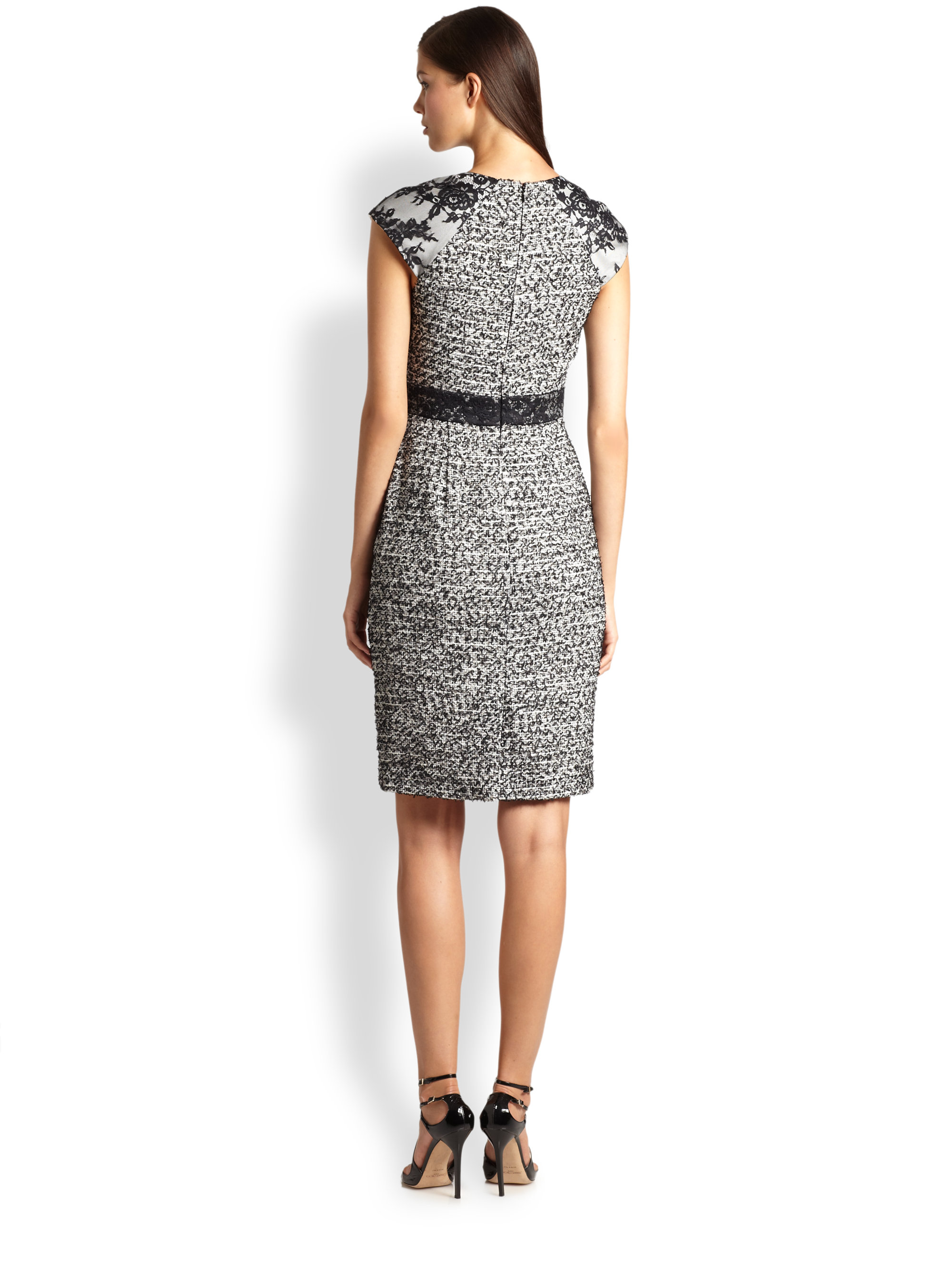 dc24ce4bfb57 Badgley Mischka Lace & Tweed Cocktail Dress in Gray - Lyst