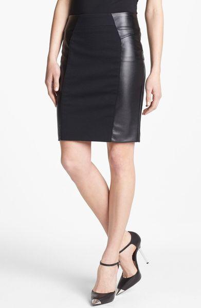 michael michael kors ponte faux leather skirt in black