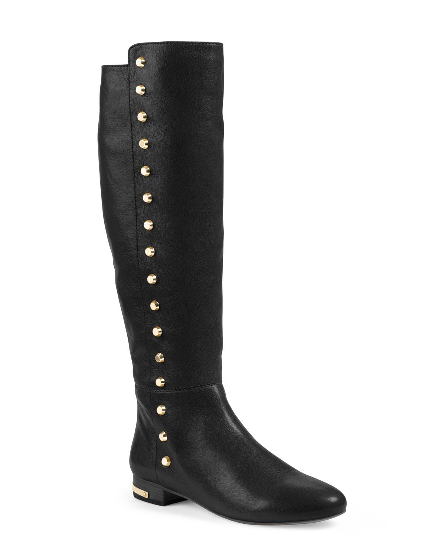 3e0ab57e663e Lyst - Michael Kors Ailee Flat Studded Knee Boot in Black