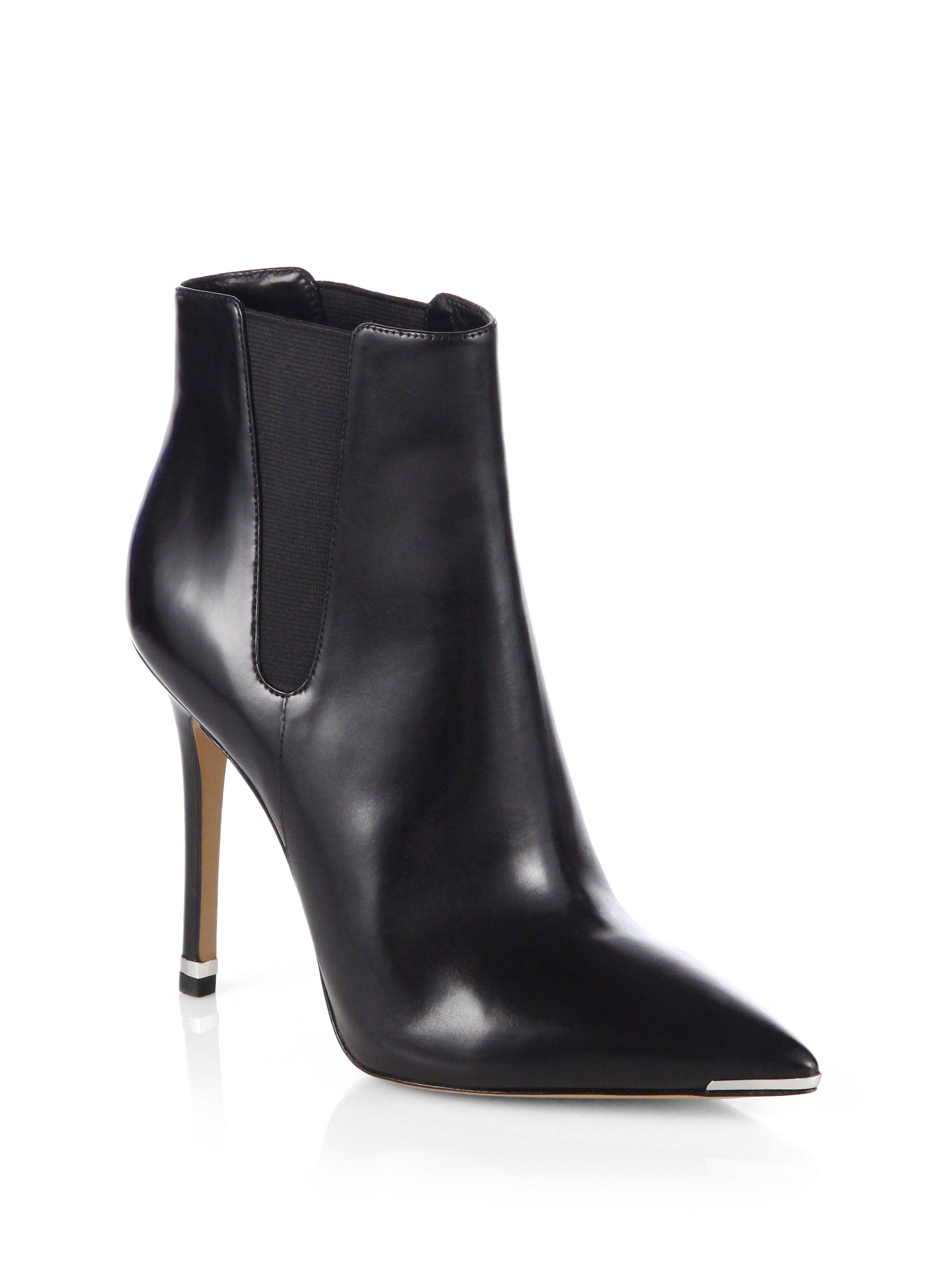 lyst michael kors andie leather ankle boots in black. Black Bedroom Furniture Sets. Home Design Ideas