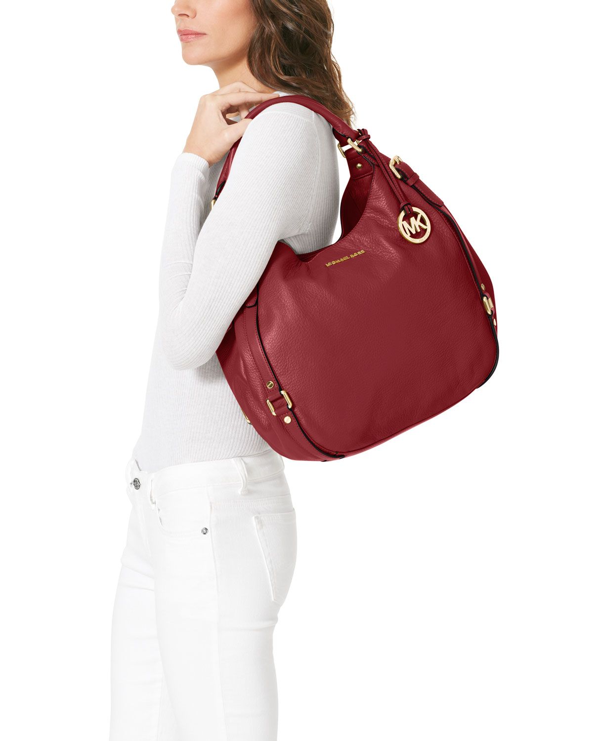 a3711387d085e0 Michael Kors Large Bedford Shoulder Tote in Red - Lyst