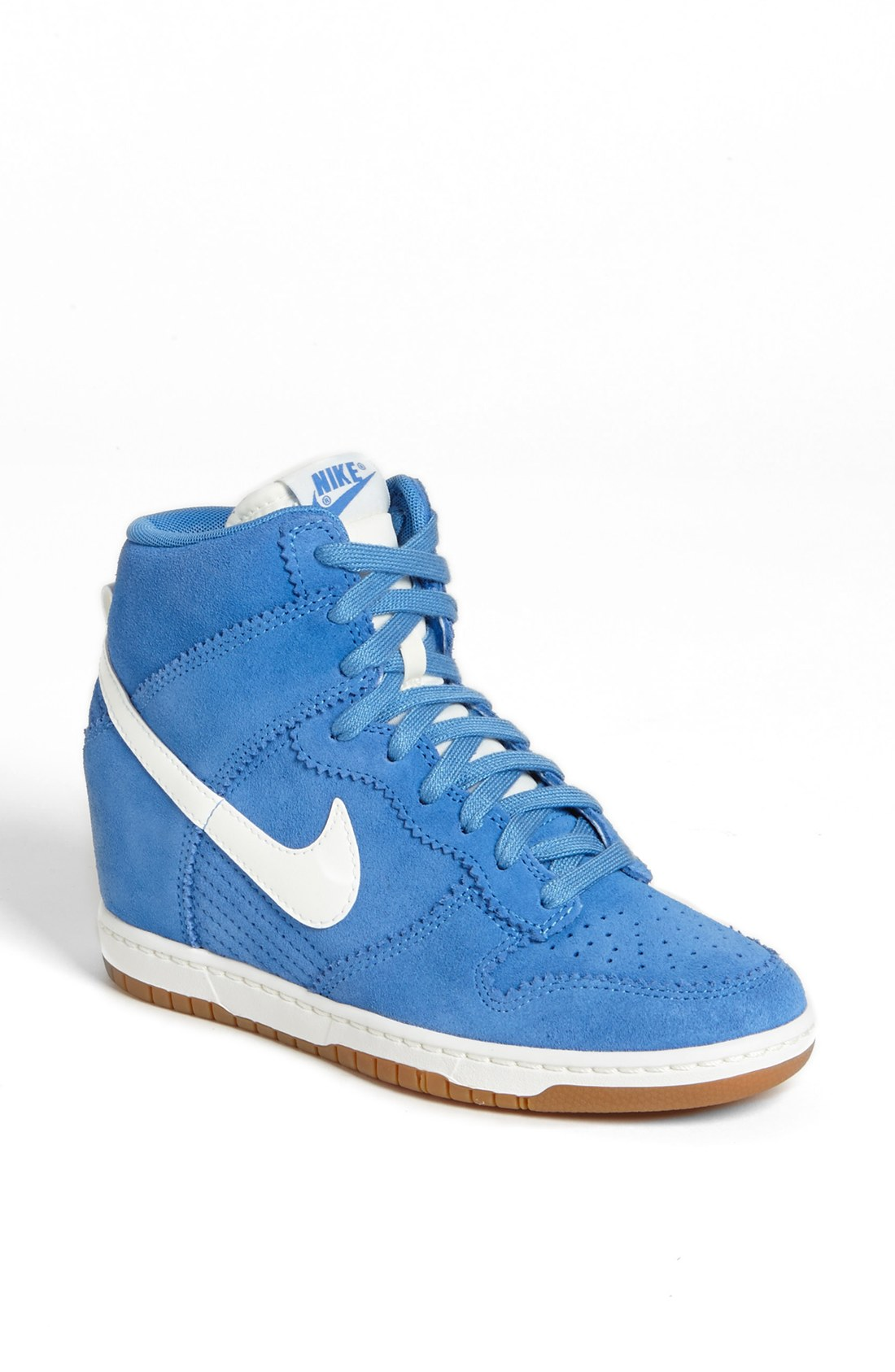 nike dunk sky hi wedge sneaker in blue distance blue white lyst. Black Bedroom Furniture Sets. Home Design Ideas
