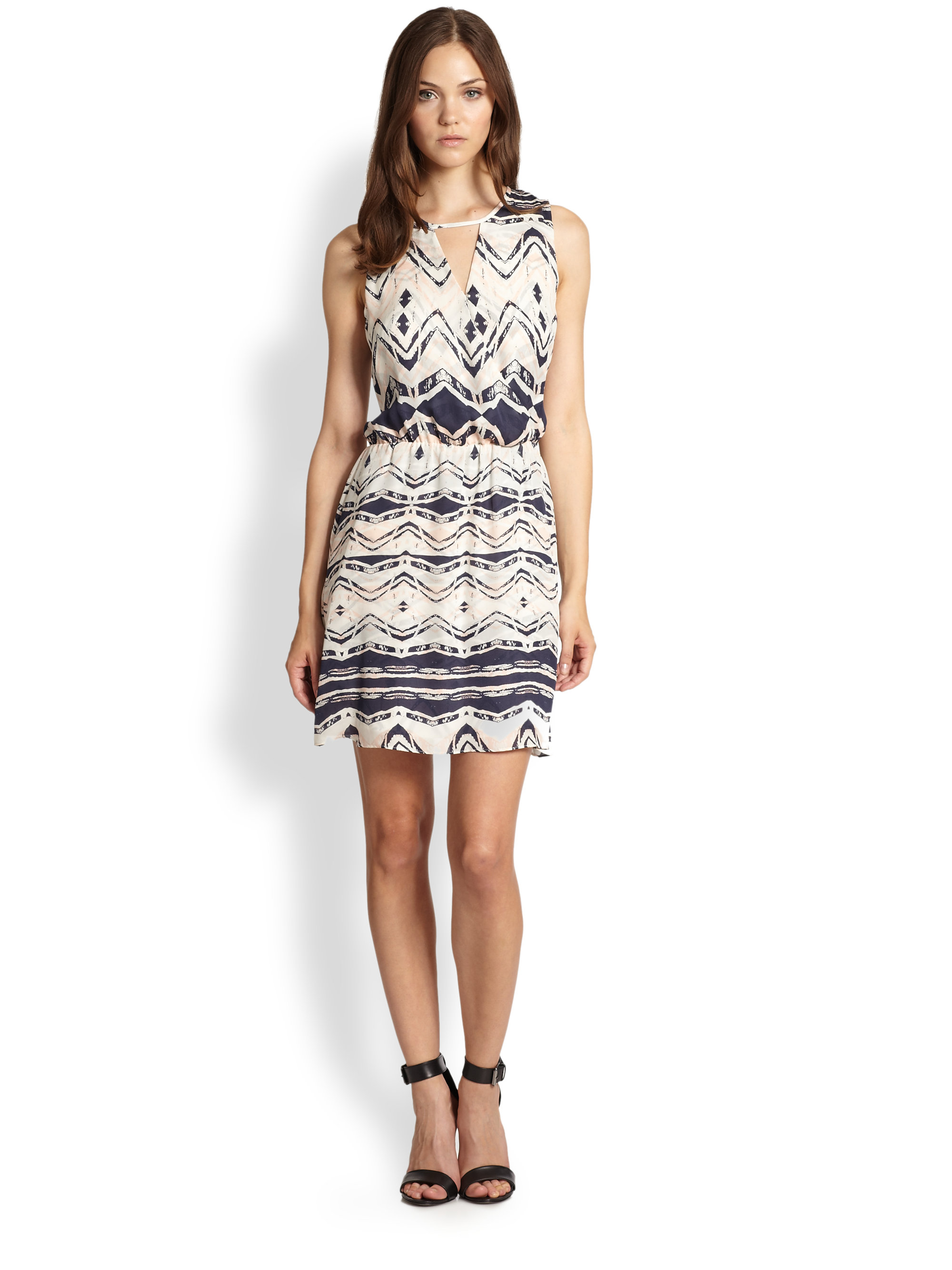 Lyst Parker Suri Silk Fauxwrap Dress In Blue