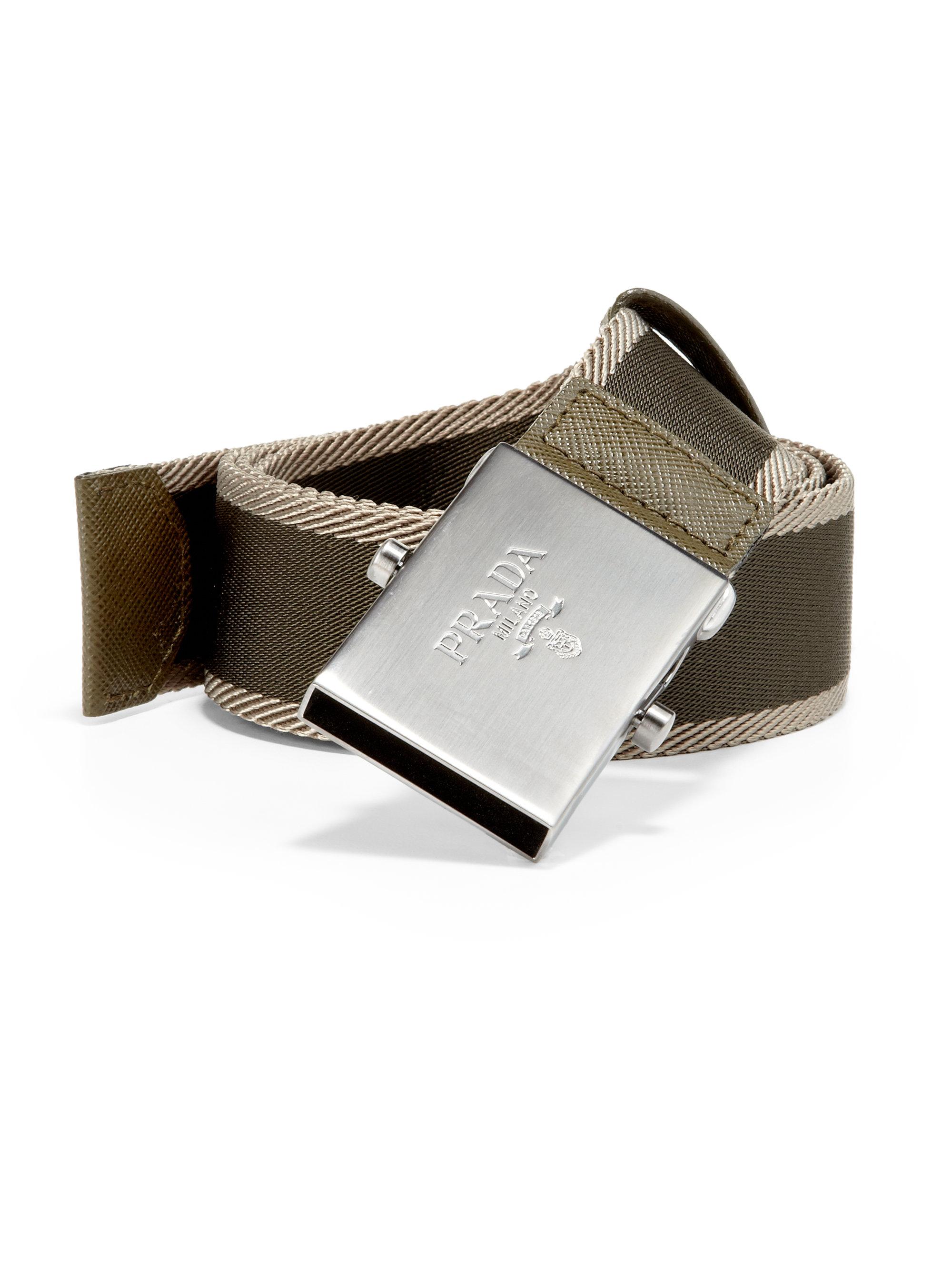 Prada Bicolor Webbed Logo Belt in Brown for Men | Lyst