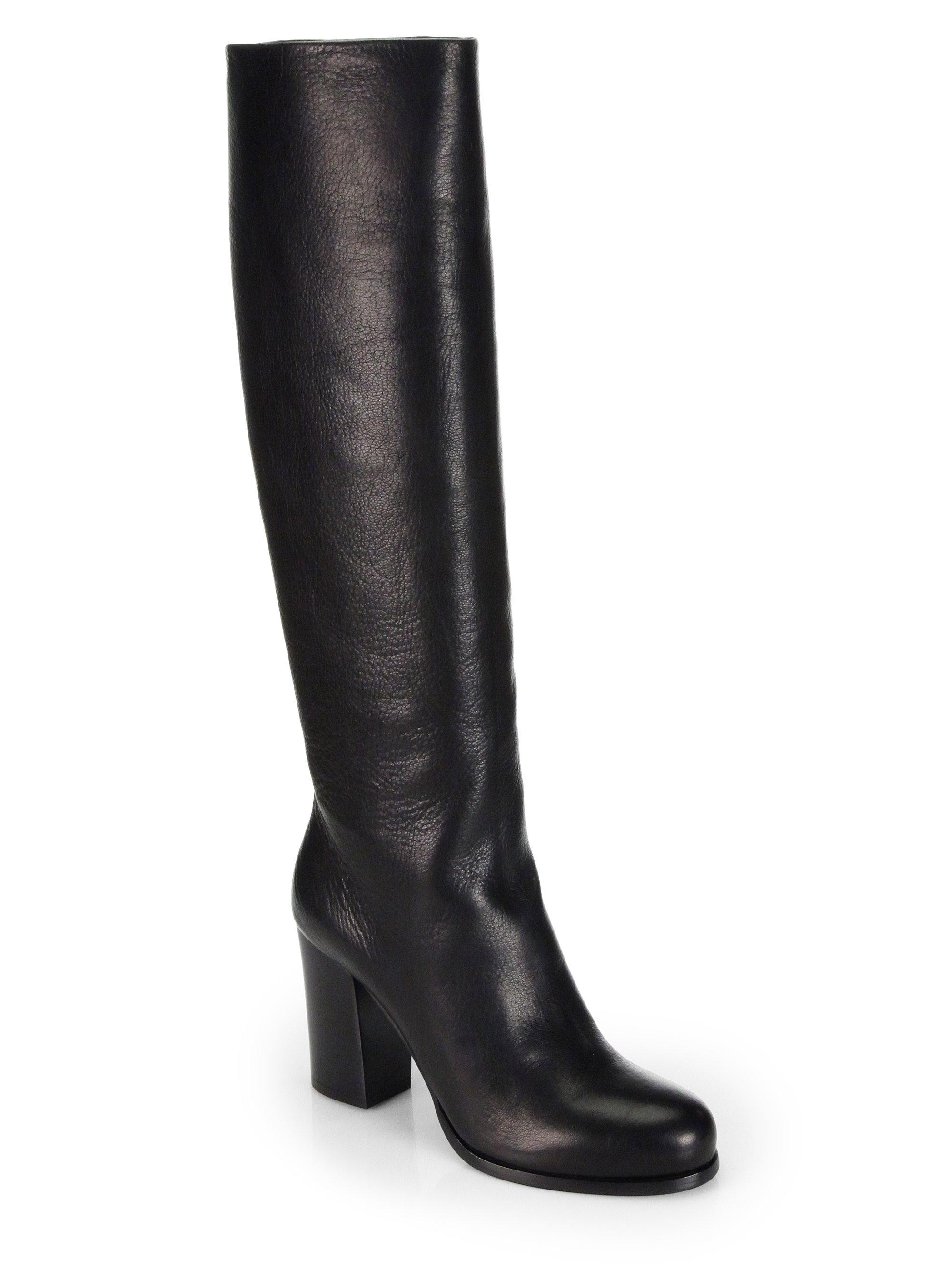 prada leather kneehigh boots in black nero black lyst