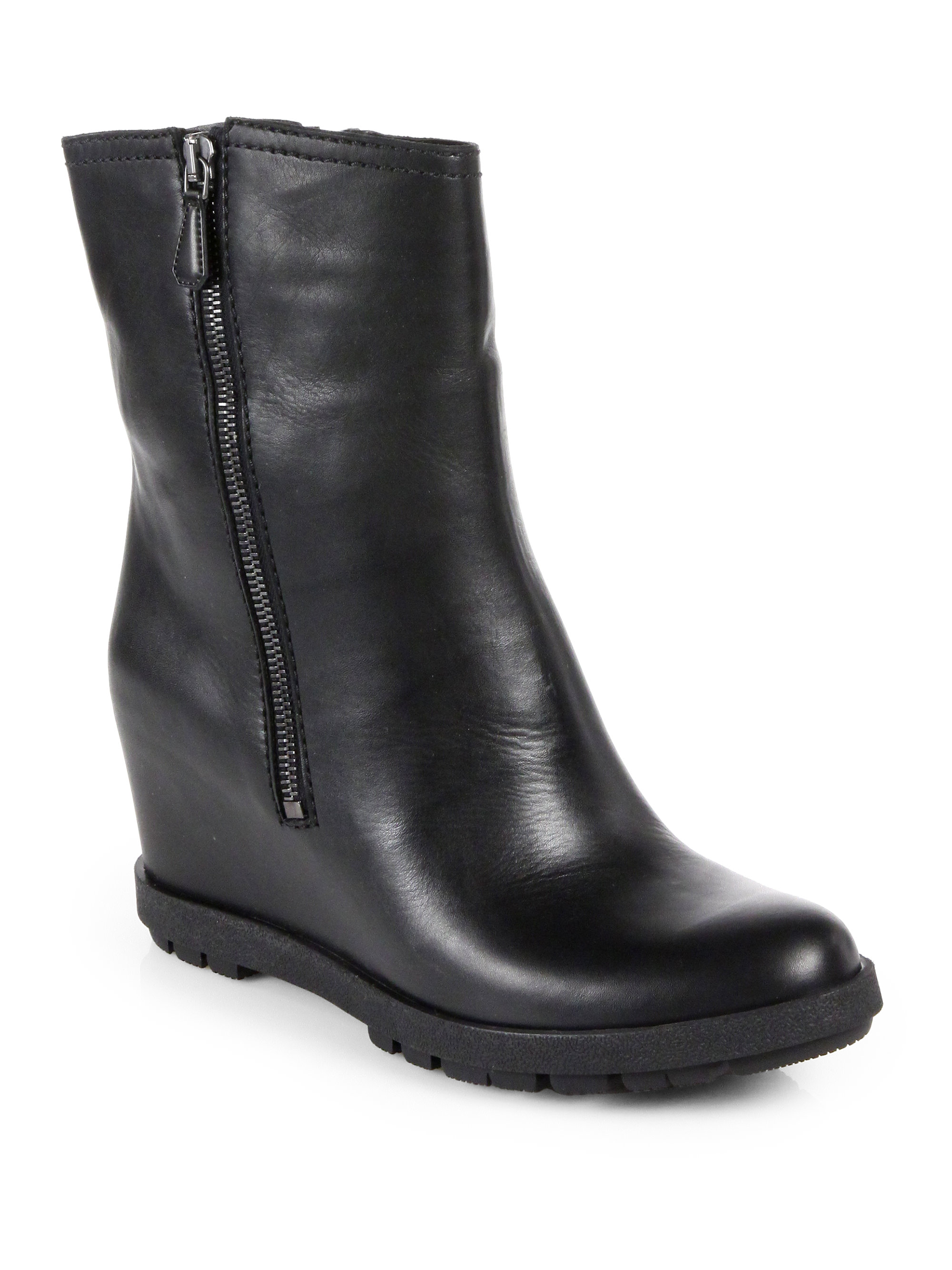 prada leather wedge mid calf boots in black lyst