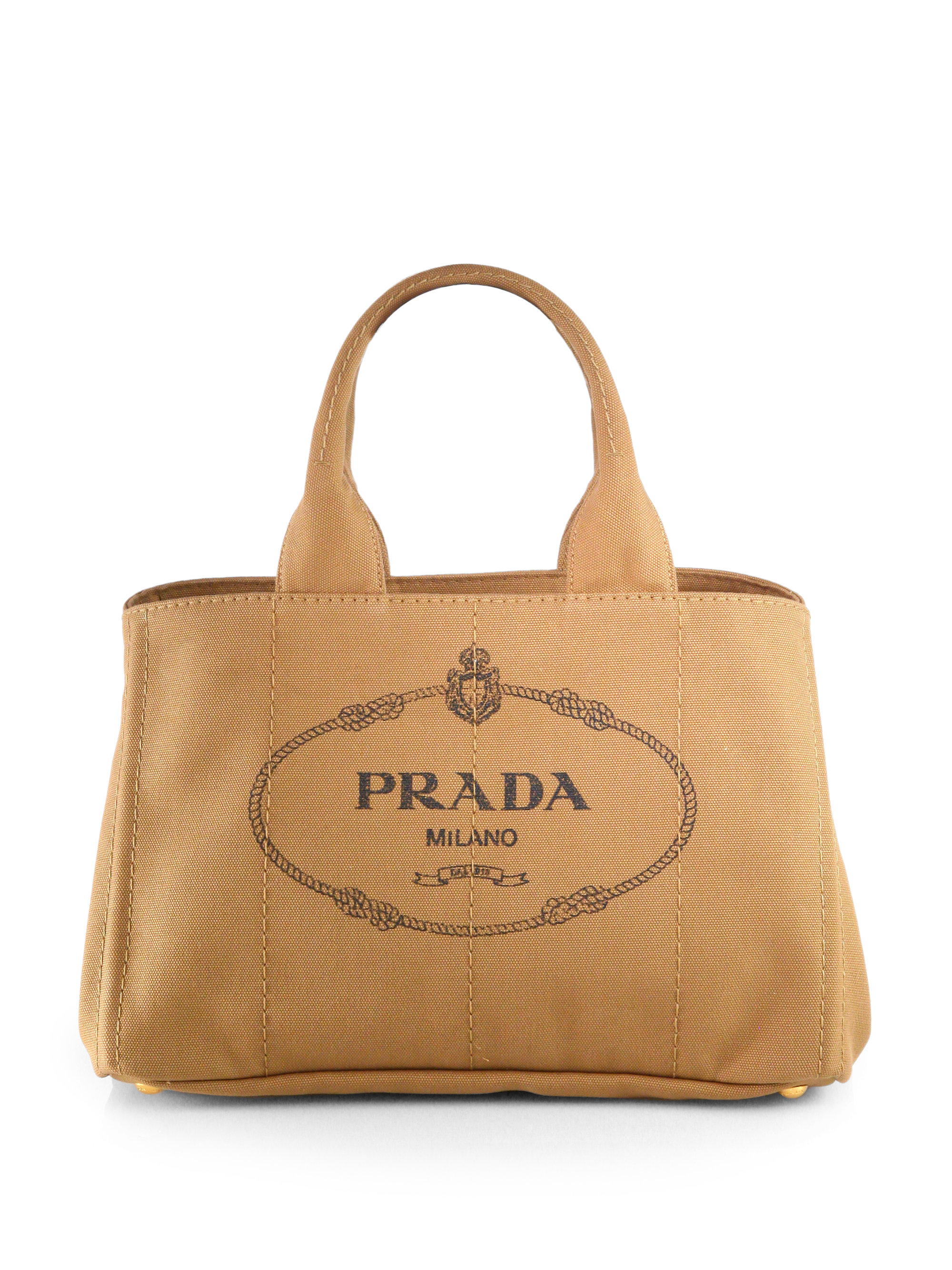 Prada Logo Printed Medium Canvas Tote in Brown | Lyst