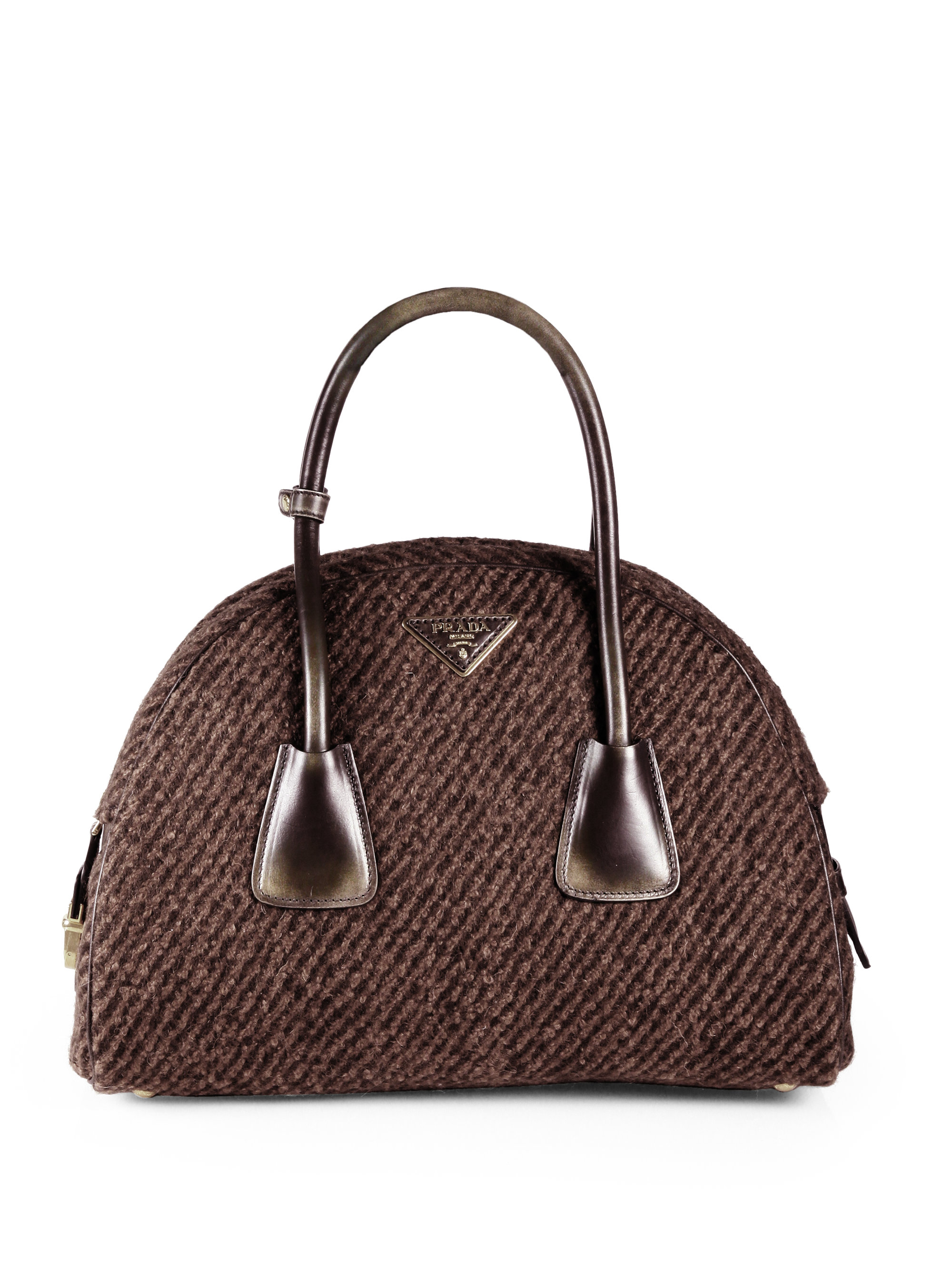 Prada Wool Boucle Bowler Bag in Brown (TOBACCO)   Lyst