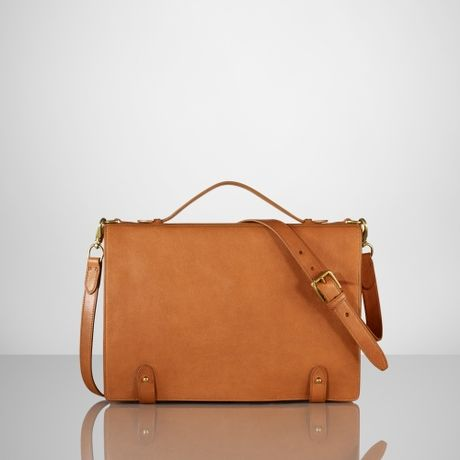 Ralph Lauren Tumbled Leather Briefcase In Brown For Men