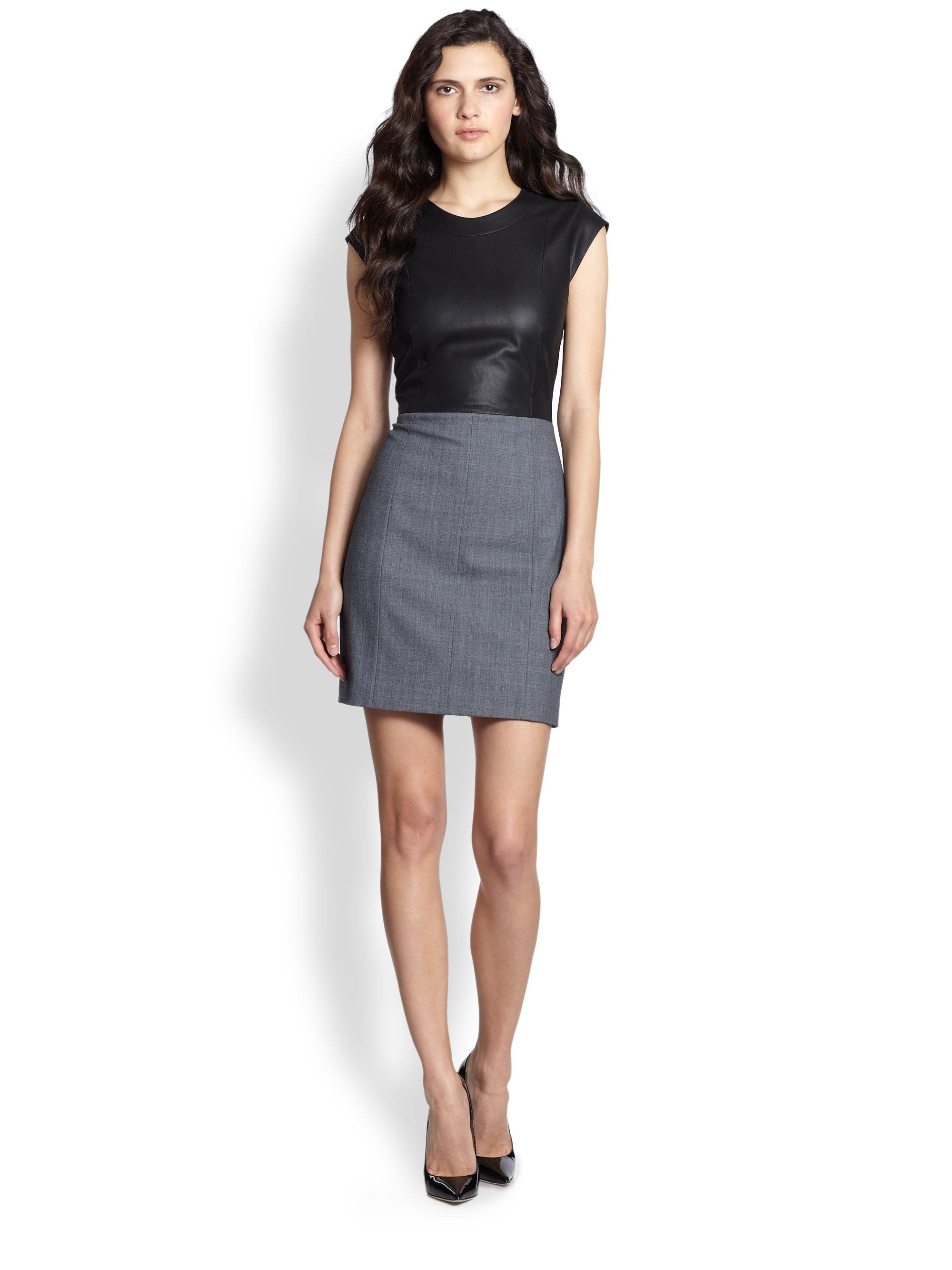 c6f0afce79f Theory Orinthia C Wallner Leather Cloth Dress in Black - Lyst