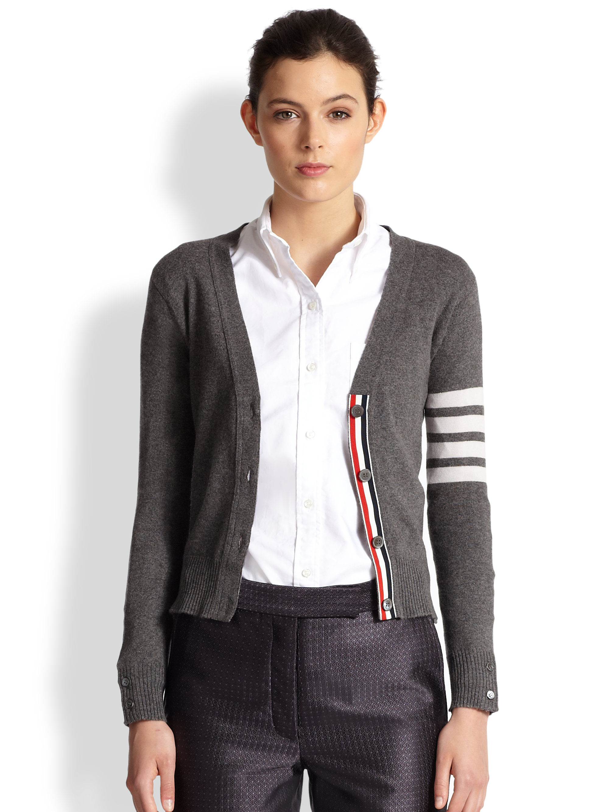 Thom browne Striped-sleeve Cashmere Cardigan in Gray | Lyst