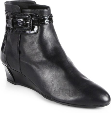 tod s leather patent leather wedge ankle boots in black lyst