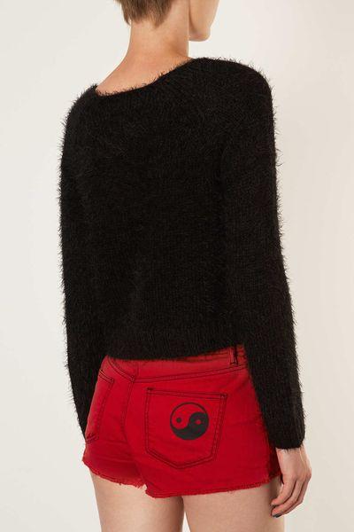 Knitting Pattern Fluffy Jumper : Topshop Tall Knitted Fluffy Crop Jumper in Black Lyst