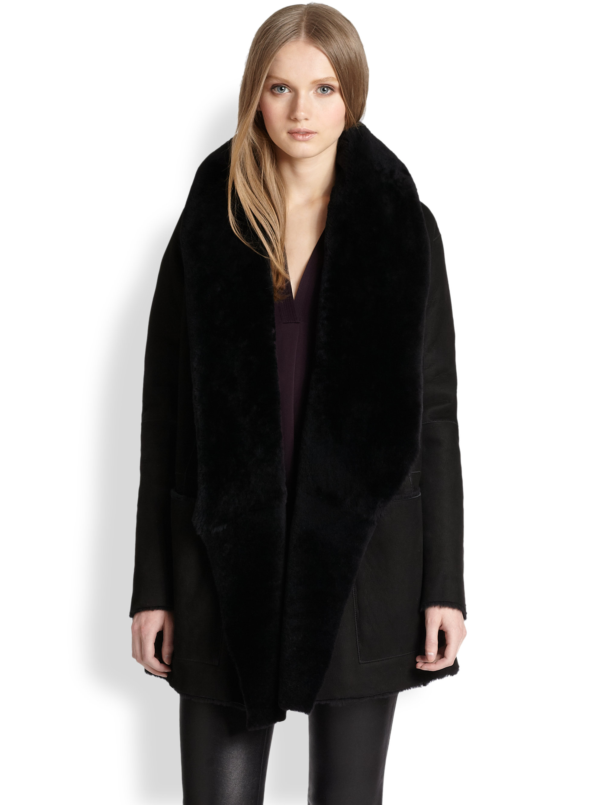 Vince Draped Shearling Leather Coat in Black | Lyst