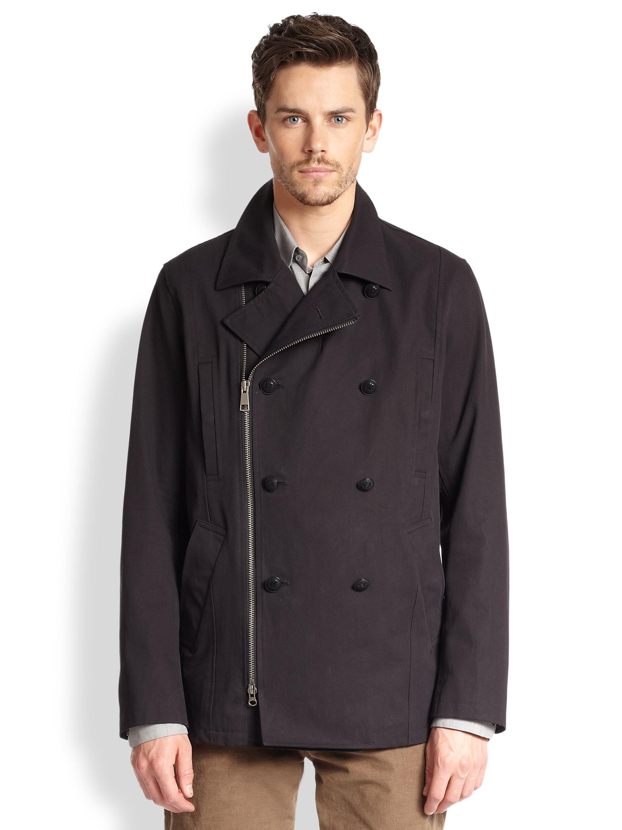 Pea Coat With Zipper - Sm Coats
