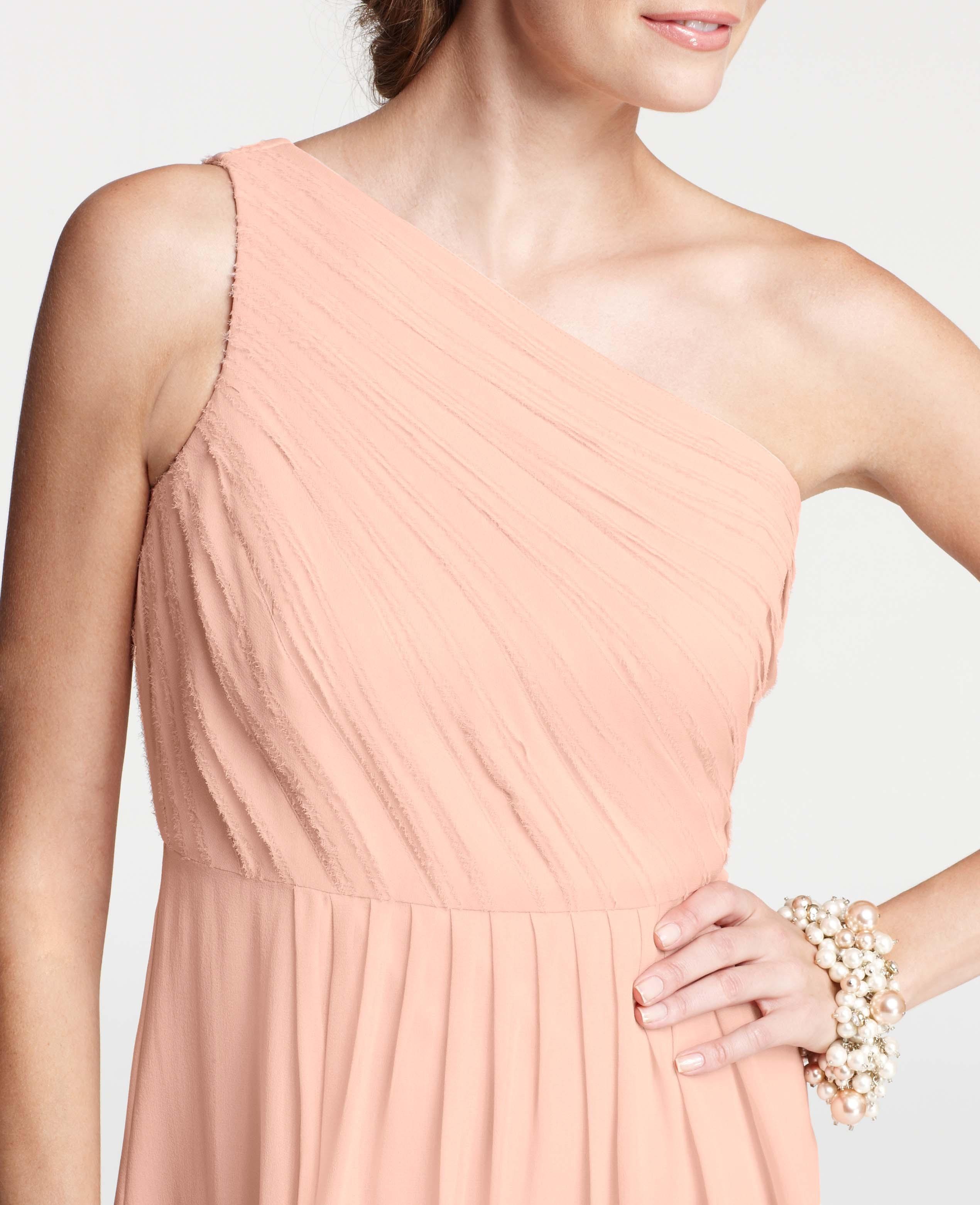 Lyst ann taylor silk georgette pleated one shoulder for Silk georgette wedding dress