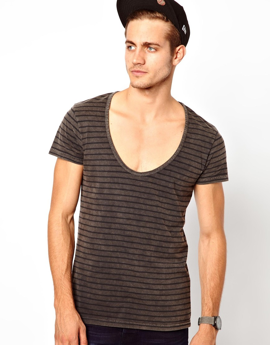 Asos stripe tshirt with deep scoop neck and acid wash in for Deep scoop neck t shirt