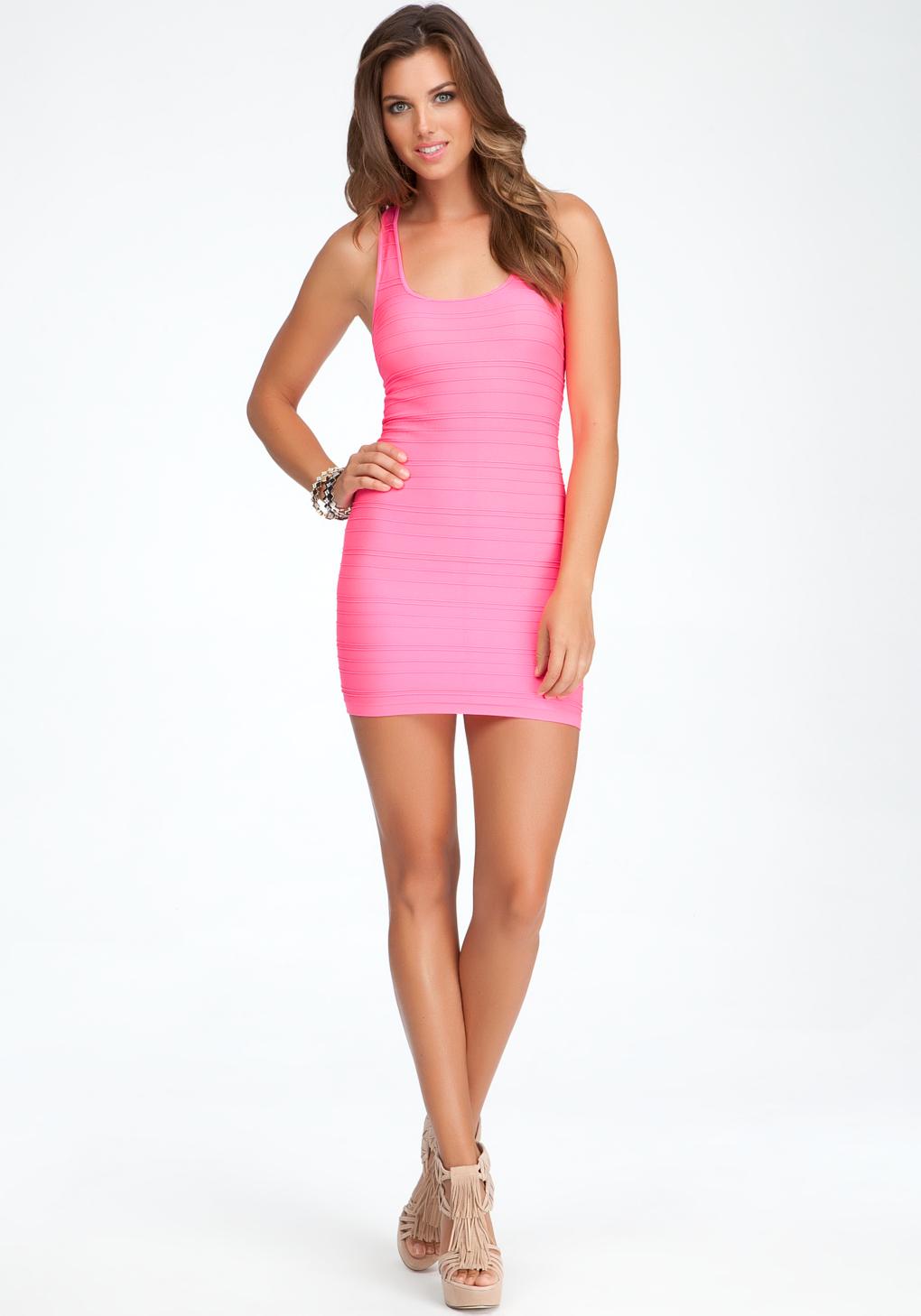 Lyst Bebe Braided Back Bodycon Tank Dress In Pink