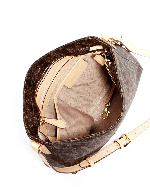 a1e9fa3defe93 Lyst - Michael Kors Jet Set Large Travel Logo Messenger Bag in Brown