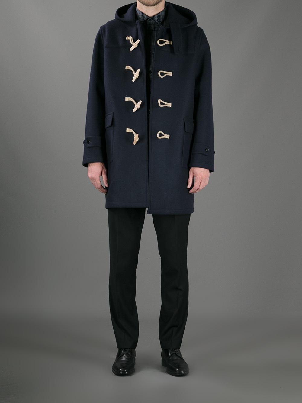 Saint laurent Hooded Duffle Coat in Blue for Men | Lyst