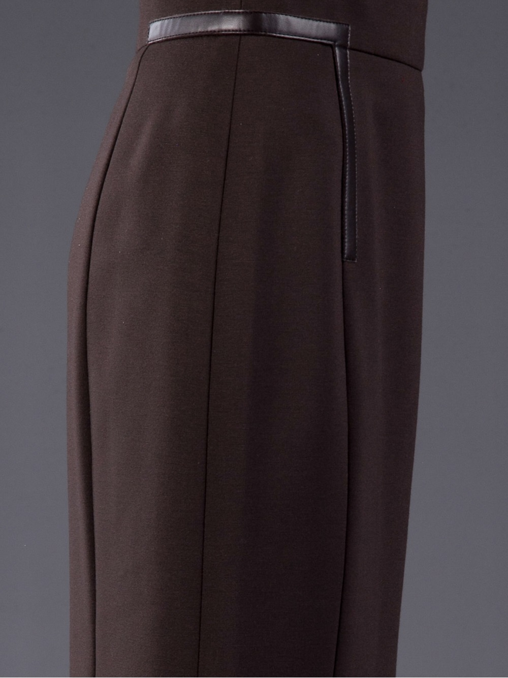 akris punto leather trim fitted skirt in brown lyst