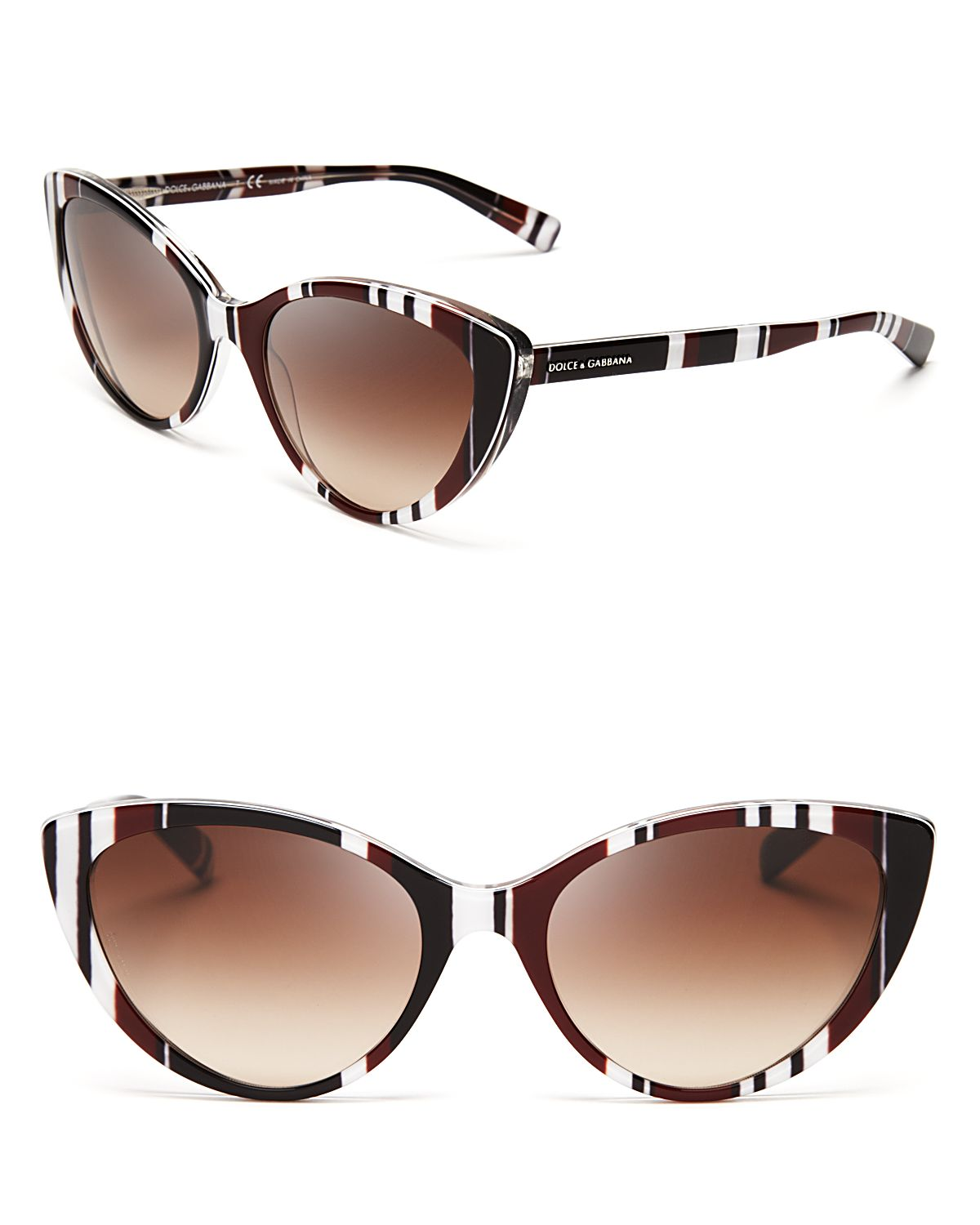 Lyst Dolce Amp Gabbana Striped Cat Eye Sunglasses