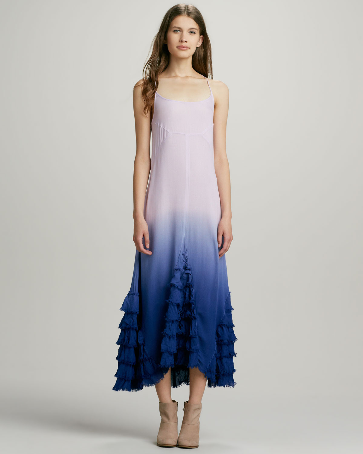Free people Hazy Days Ruffled Ombre Maxi Dress in Blue | Lyst