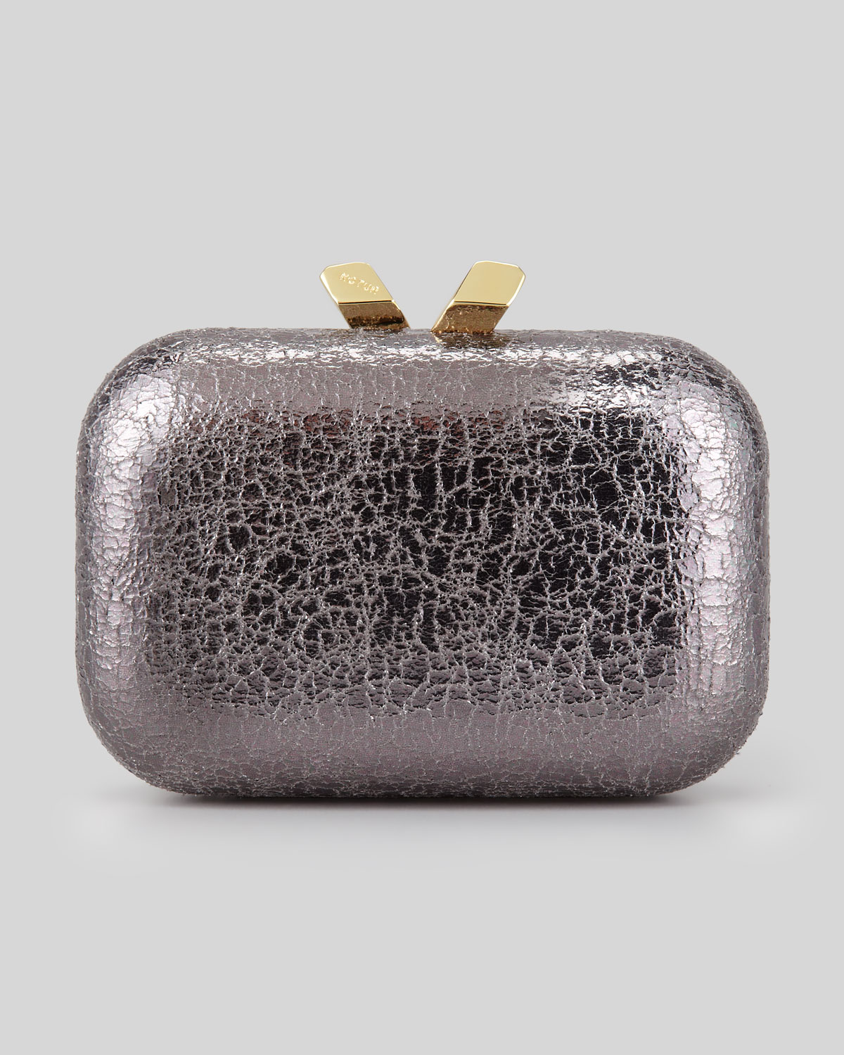 Kotur Margo Crinkled Metallic Box Clutch Bag in Metallic | Lyst