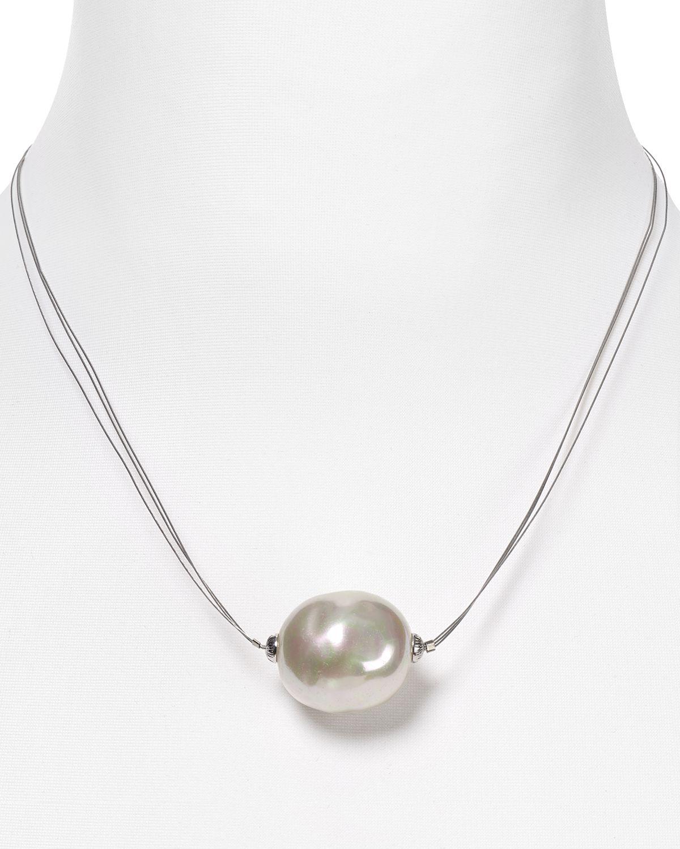 White Pearl Pendant Necklace: Majorica Baroque Manmade Pearl Pendant Necklace In White