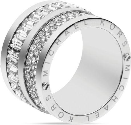 michael kors pave baguette barrel ring in silver lyst