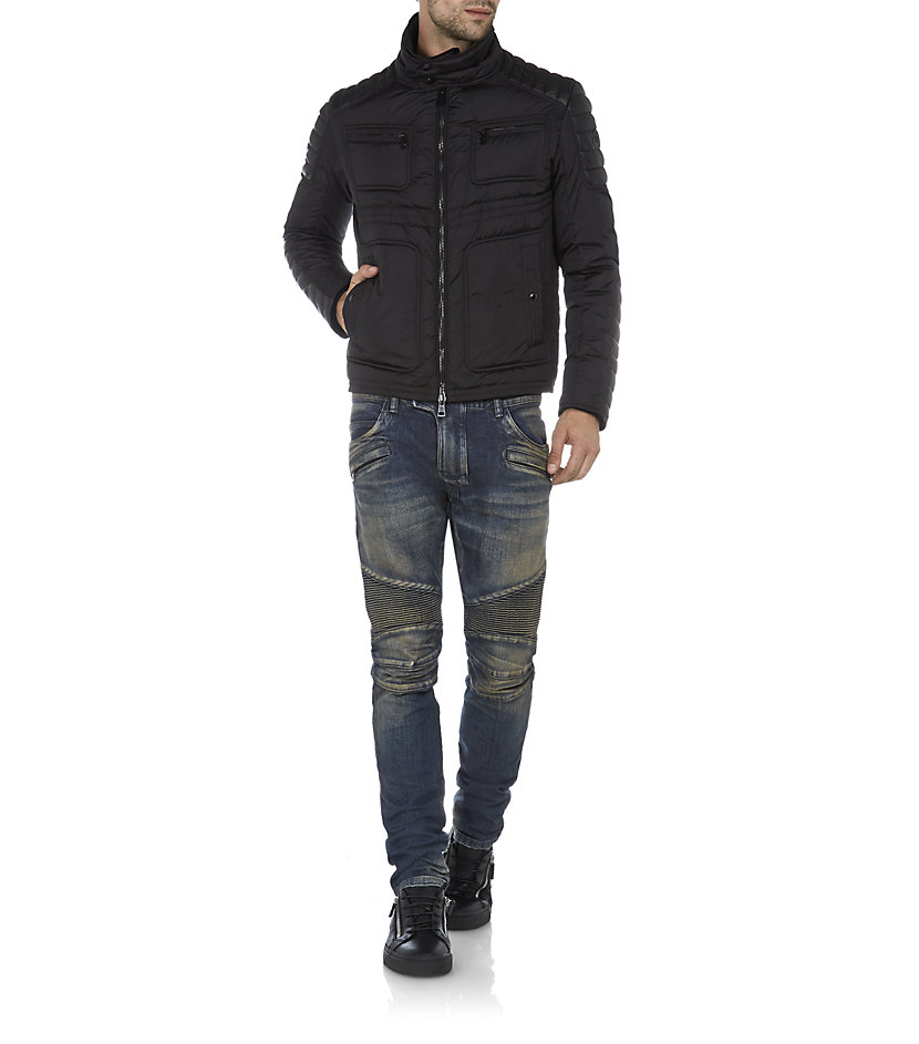 moncler quilted biker jacket