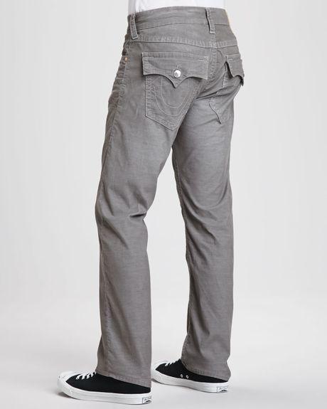 True Religion Ricky Straightleg Corduroy Jeans Gray In