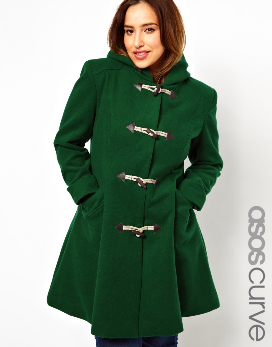 Asos Exclusive Duffle Coat with Hood in Green | Lyst