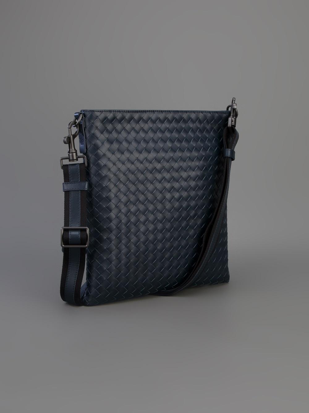 29d82601185a Bottega Veneta Woven Cross Body Bag in Black for Men - Lyst