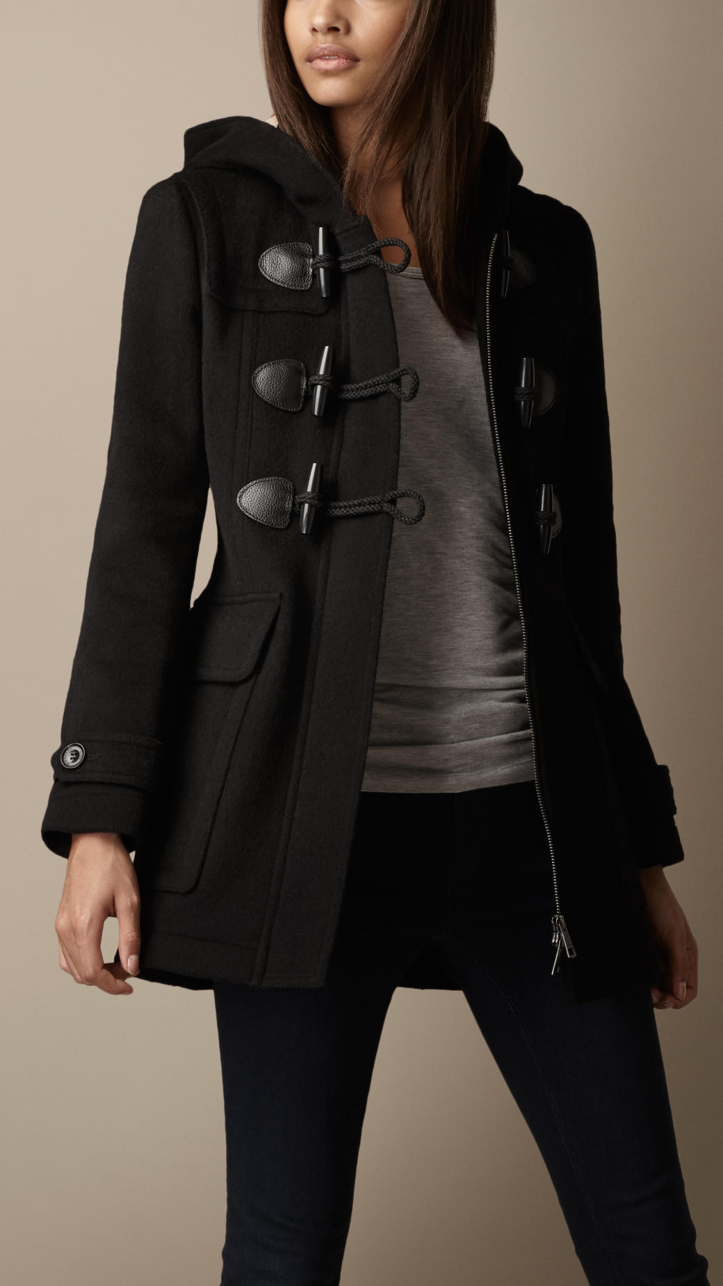 Burberry Fitted Duffle Coat in Black   Lyst