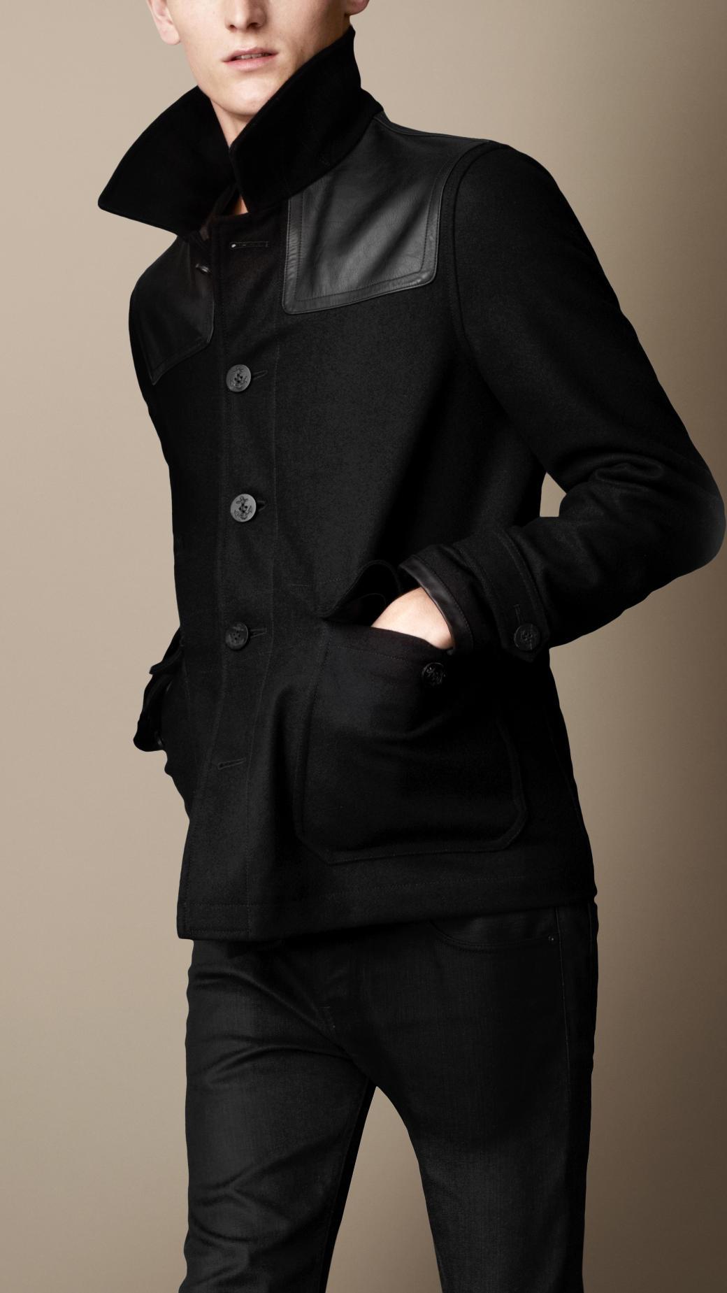 Lyst Burberry Wool Cashmere Leather Yoke Donkey Jacket