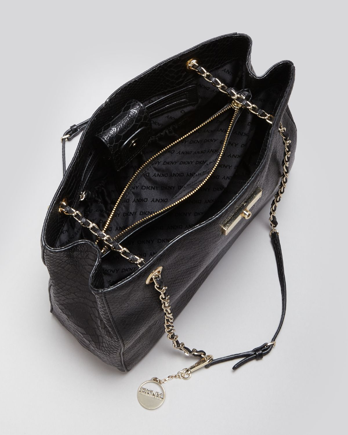 Dkny Shoulder Bag Python Chain Strap Tote in Black | Lyst