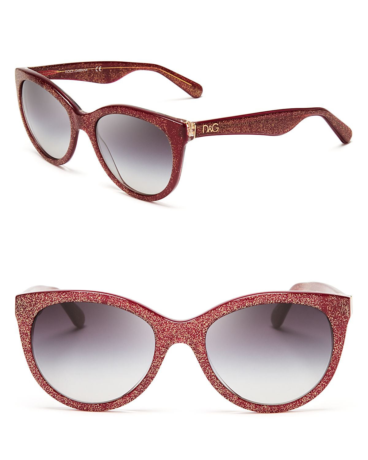 d51eec1b97d Lyst - Dolce   Gabbana Rounded Glitter Cat Eye Sunglasses in Red