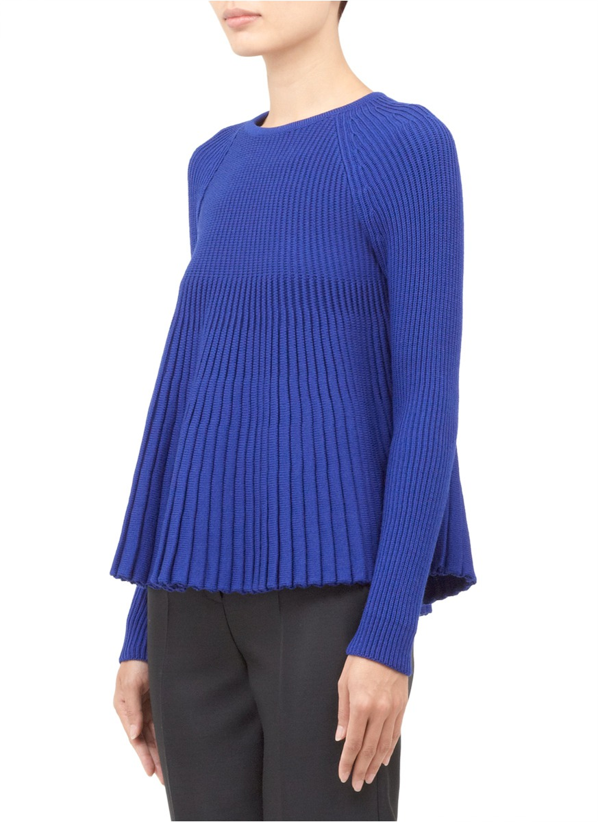 lyst alexander mcqueen wool rib knit pliss top in blue. Black Bedroom Furniture Sets. Home Design Ideas