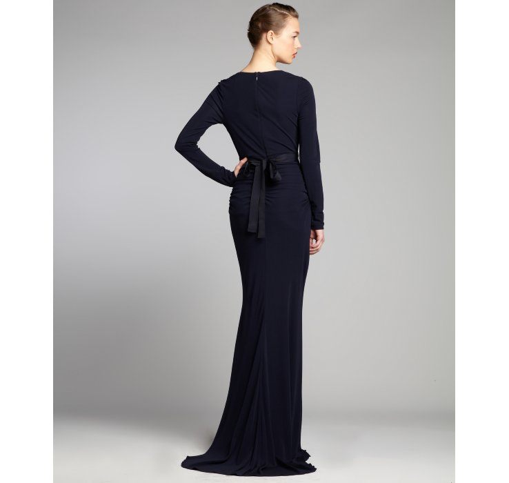 Lyst - Badgley Mischka Navy Jersey Knit Long Sleeve Jewel Belted ...