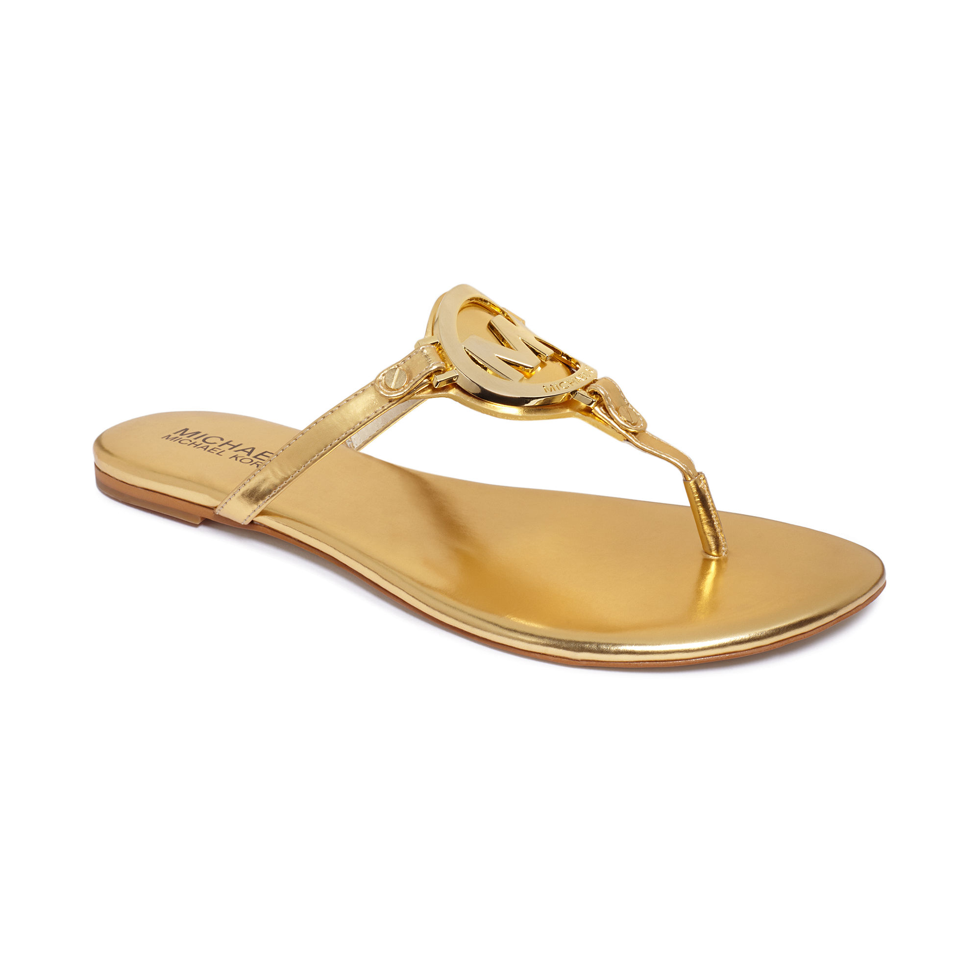453baa9e7c12 Lyst - Michael Kors Melodie Flat Thong Sandals in Metallic