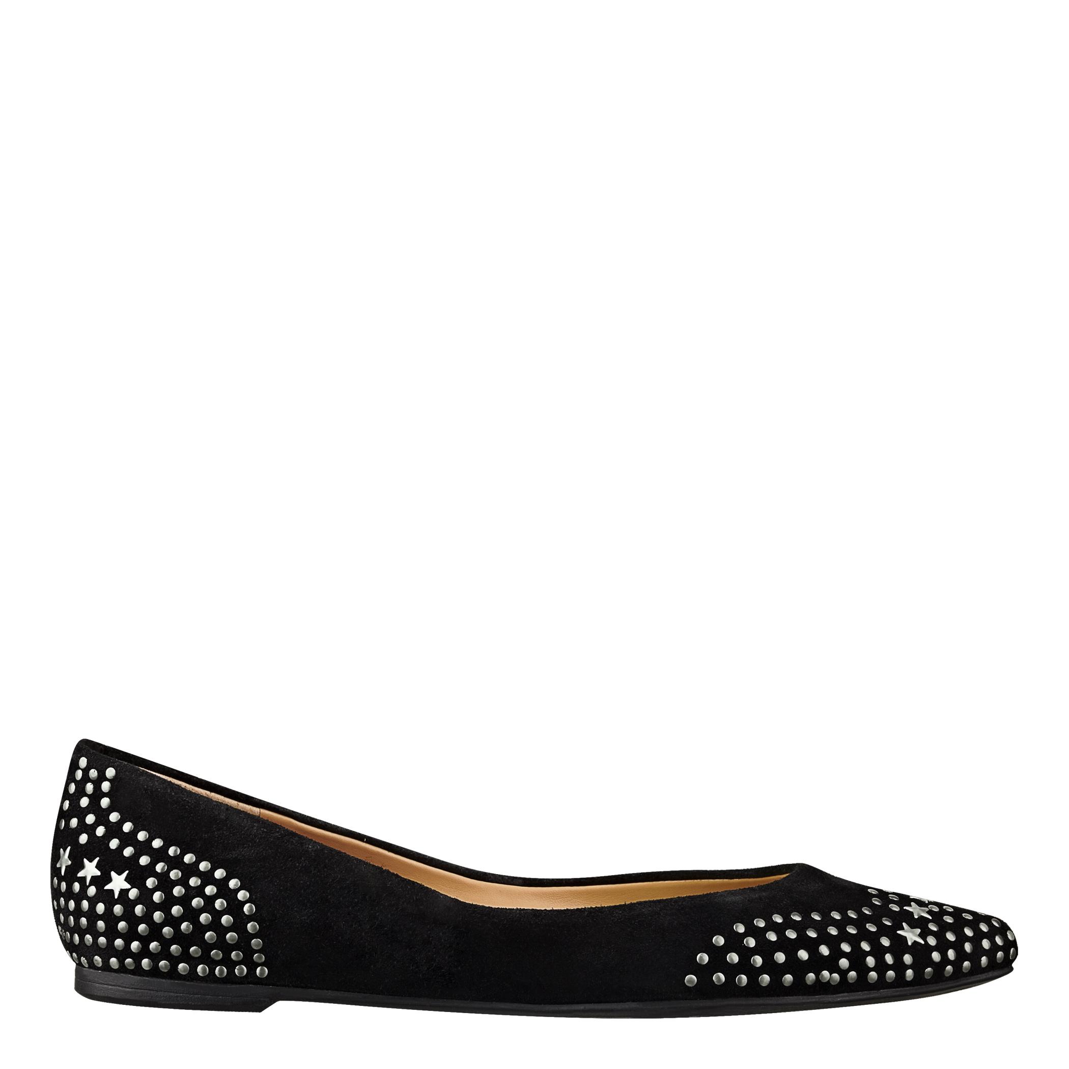nine west essayday pointy toe flat in black black suede