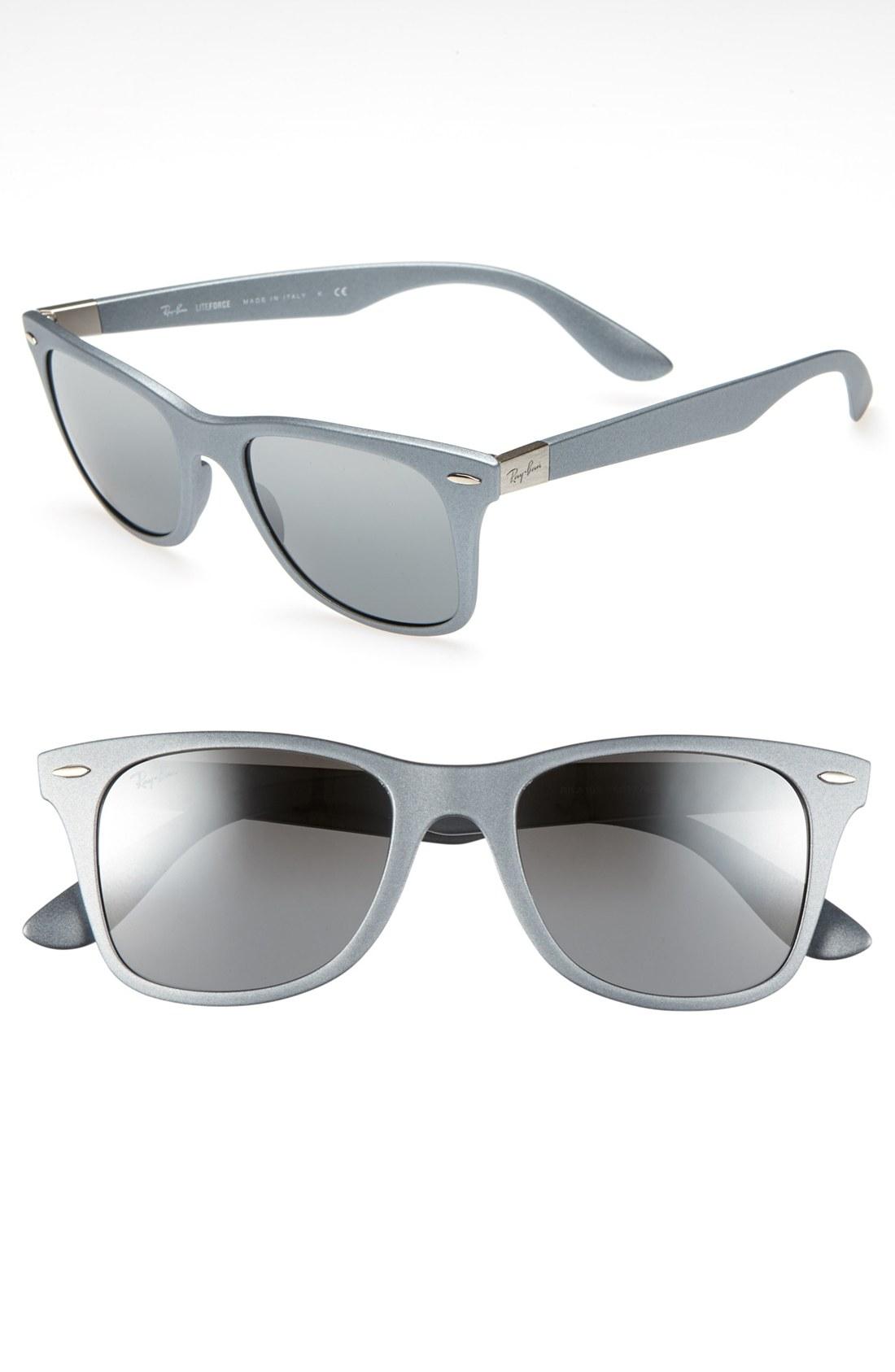 Ray ban 52mm sunglasses in silver silver mirror lyst for Mirror sunglasses