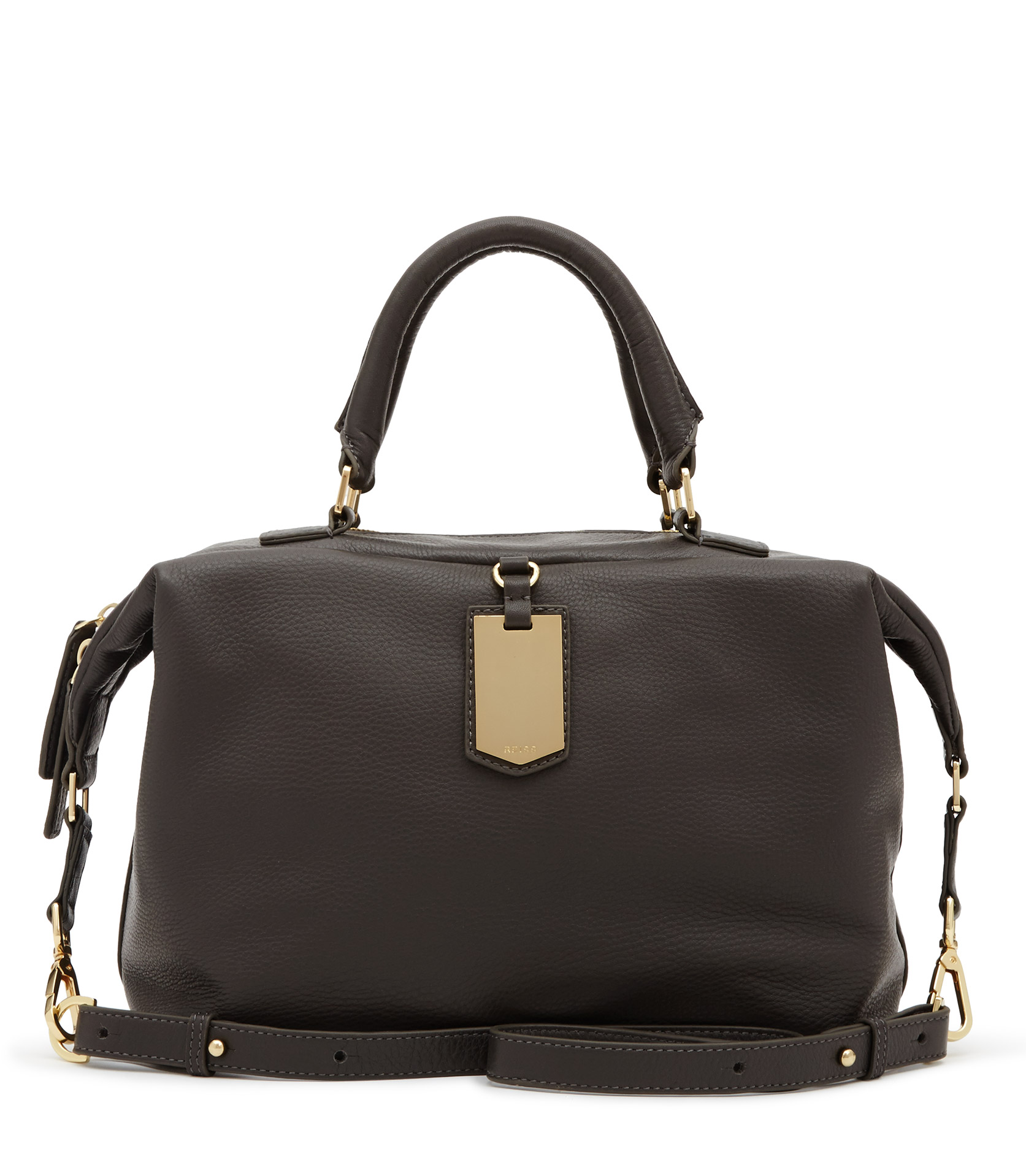 242c092778 Reiss Alma Luggage Tag Handhand Bag in Black - Lyst