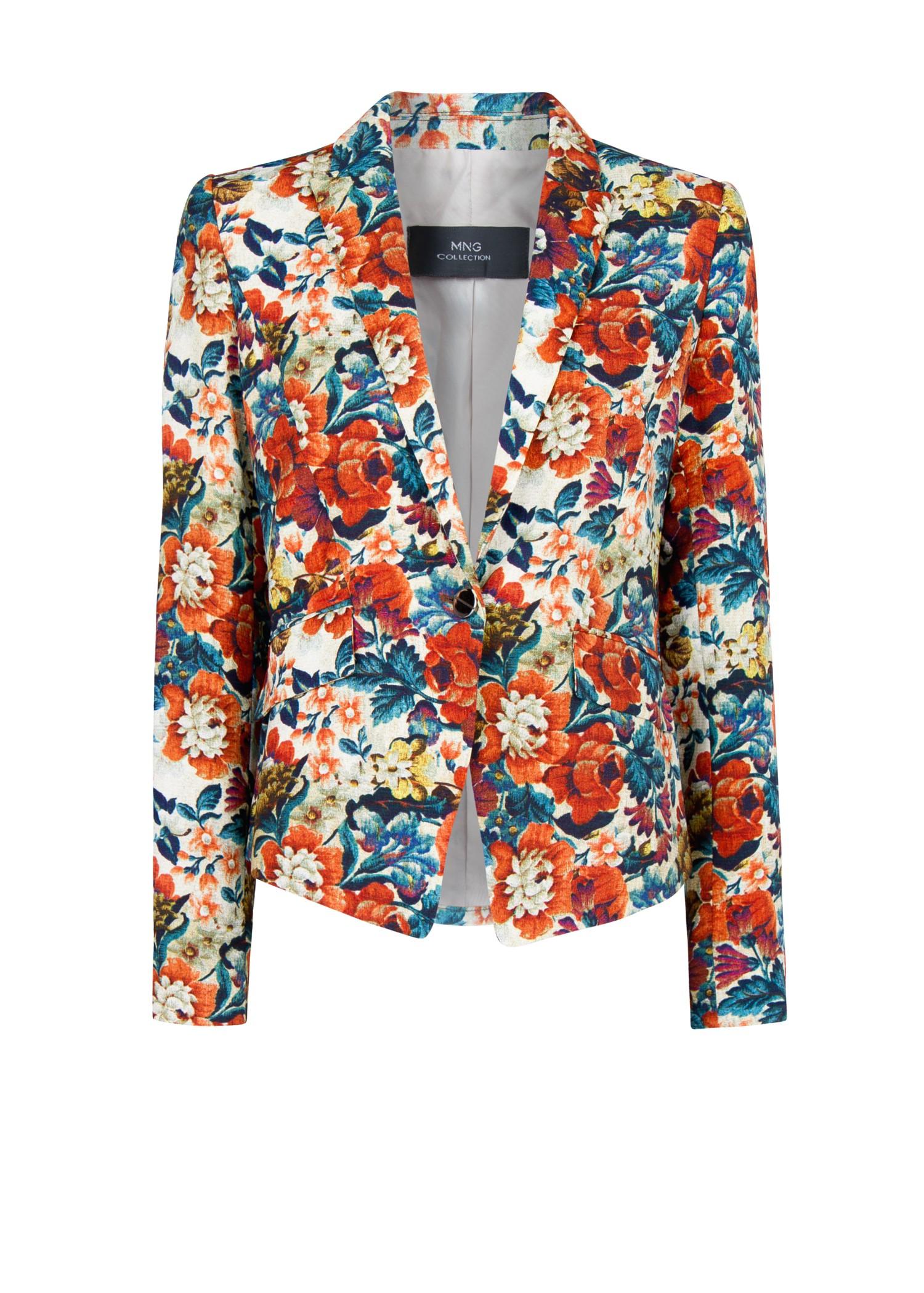 Mango Floral Print Blazer in Blue | Lyst
