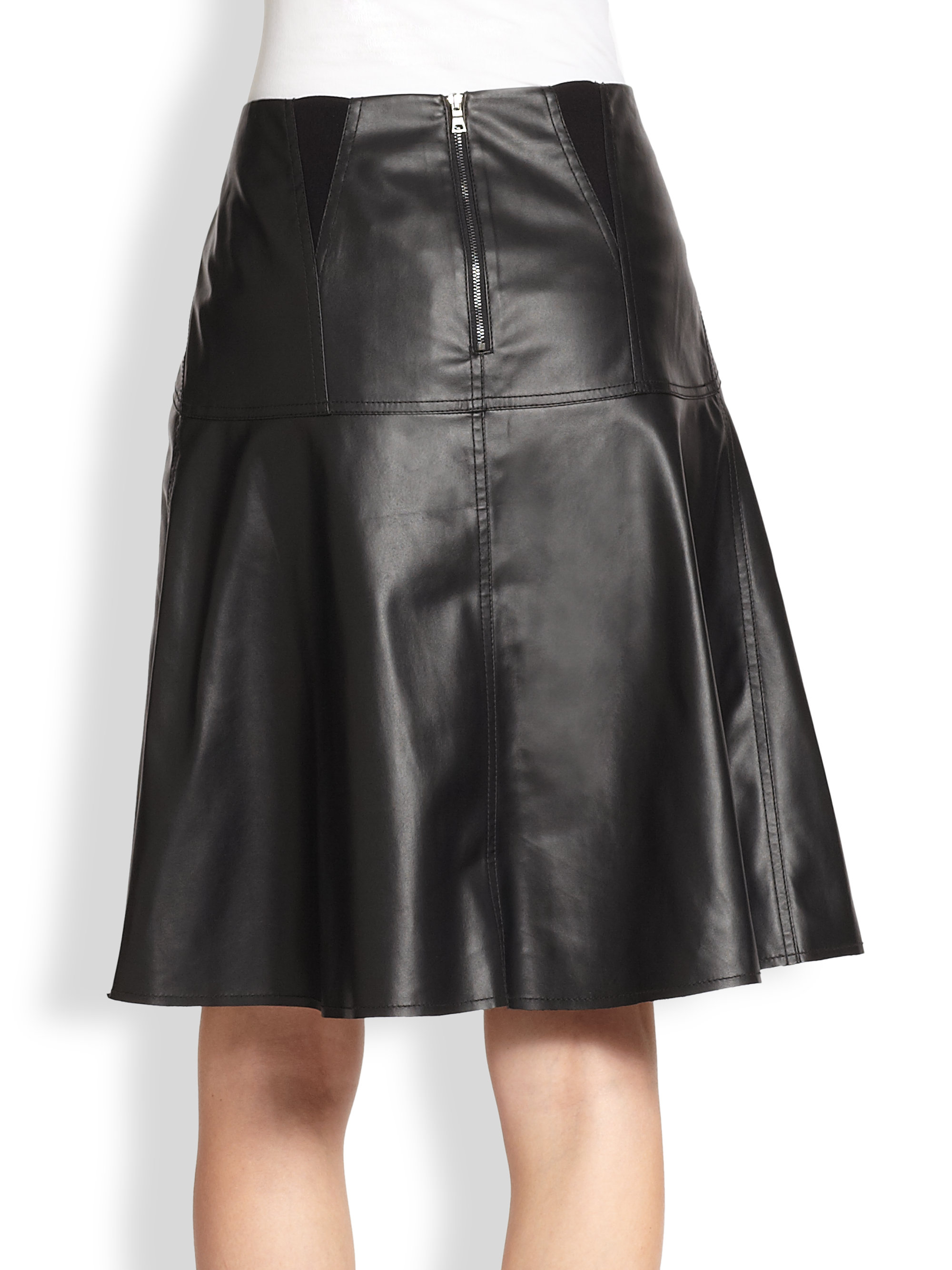 87c5d02306 BCBGMAXAZRIA Camber Faux Leather Midi Skirt in Black - Lyst