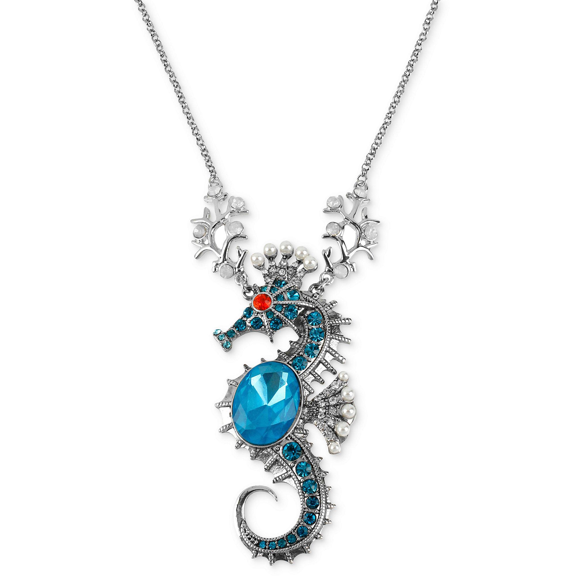 Betsey Johnson Silvertone Sea Horse Pendant Long Necklace