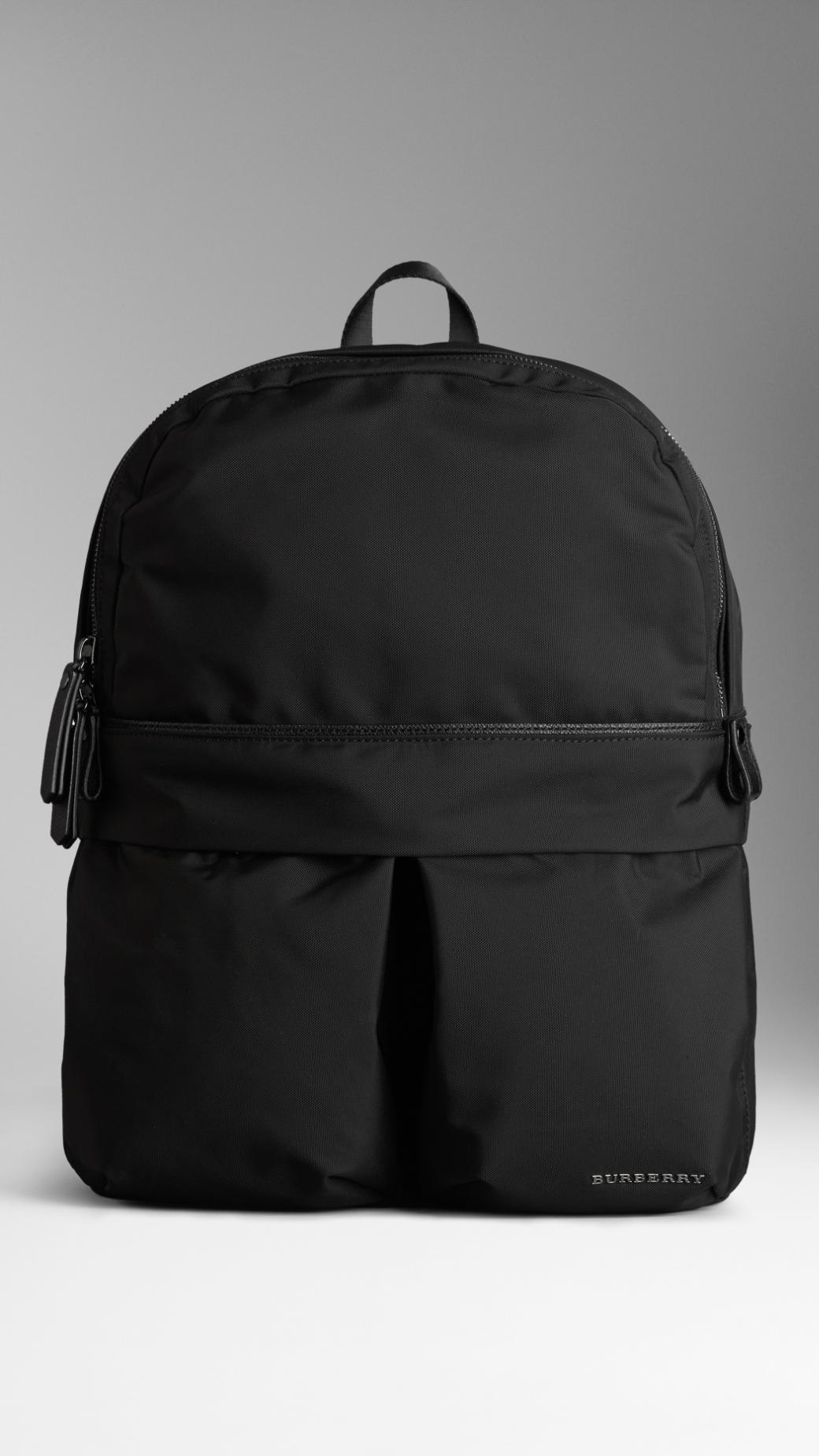 Lyst Burberry Leather Detail Nylon Backpack In Black For Men