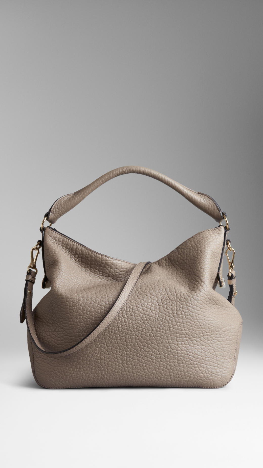 Burberry Small Signature Grain Leather Hobo Bag in Natural | Lyst